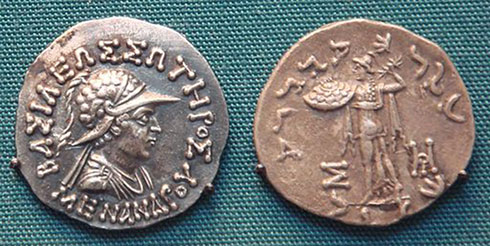 Above: Coins of the Indo-Greek emperor Menander I were in use in Bharuch, Gujarat, in the 1st century (image used under CC BY-SA 3.0 license)
