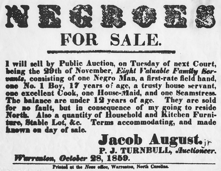 Negroes for sale Jacob August 1859