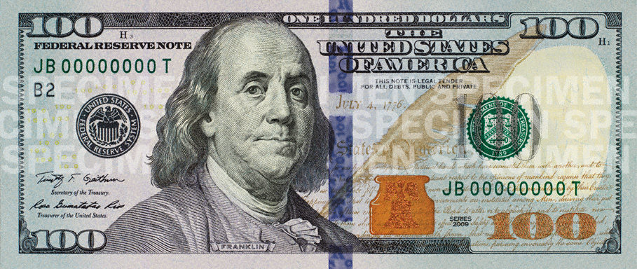 Engraving of Benjamin Franklin on specimen copy of $100 note