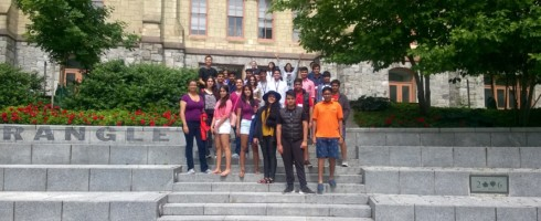 Group of students on UPenn campus for KWHS summer program 2016 Session A