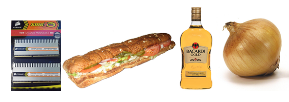 Collage of images of RAM, a submarine sandwich, a bottle of rum, and an onion