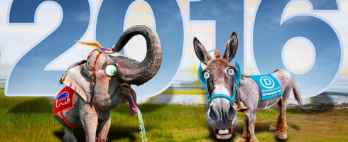Cartoon of elephant and donkey standing against background that says 2016