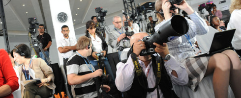 Photo of journalists with cameras by UNclimatechange