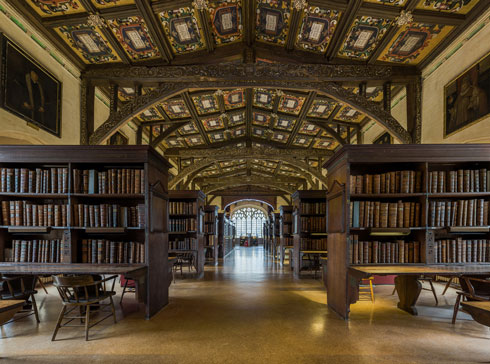 The interior of Duke Humfrey's library, part of the Bodleian group at Oxford