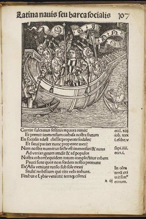 Illustration from Stultifera Nauis (Ship of Fools), printed in 1497. This satirical work by Sebastian Brant condemns ignorance as the enemy of society. Each of its 112 chapters depicts a different kind of fool