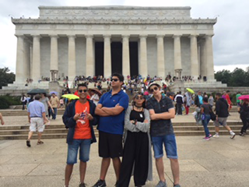At the Lincoln Memorial with the Wharton squad