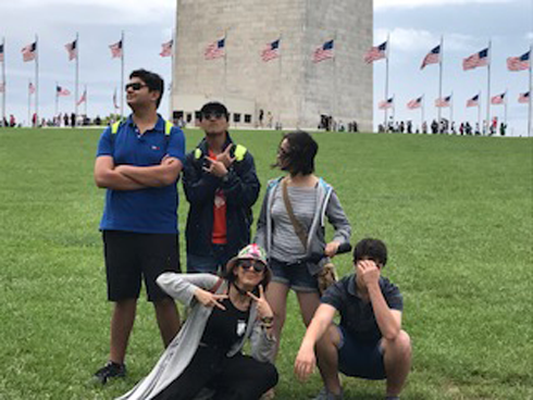 At the Washington Monument with the squad